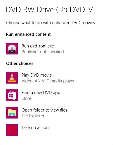 Select what to do with the DVD disc