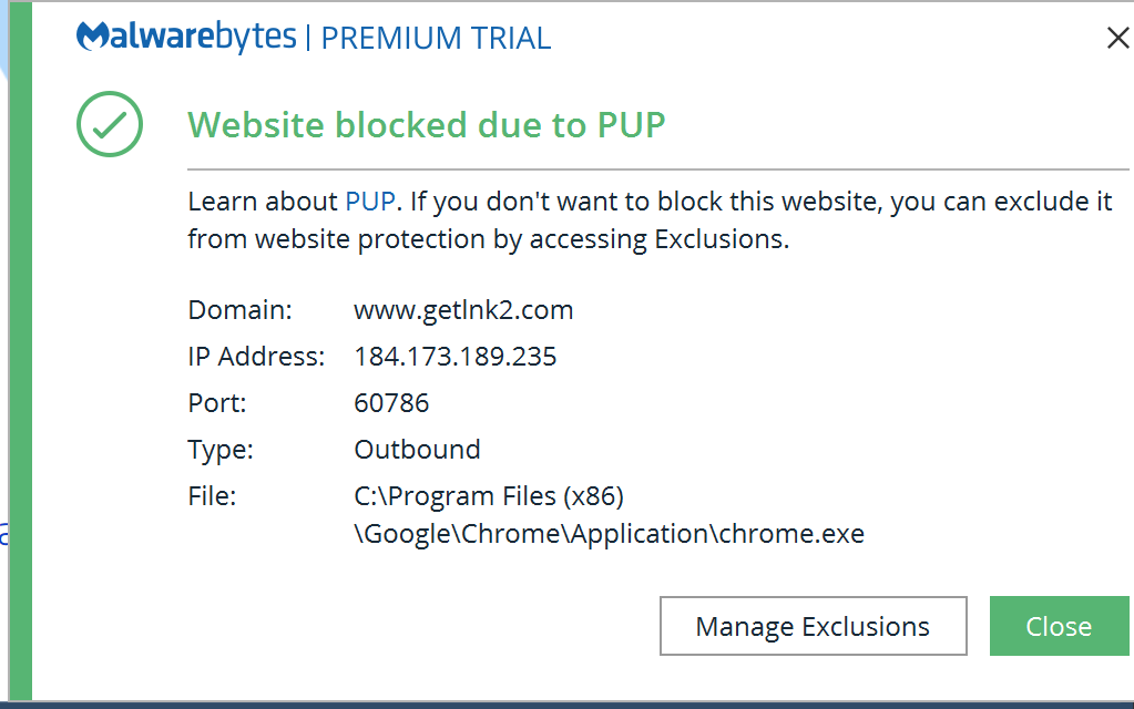 Malwarebytes warning