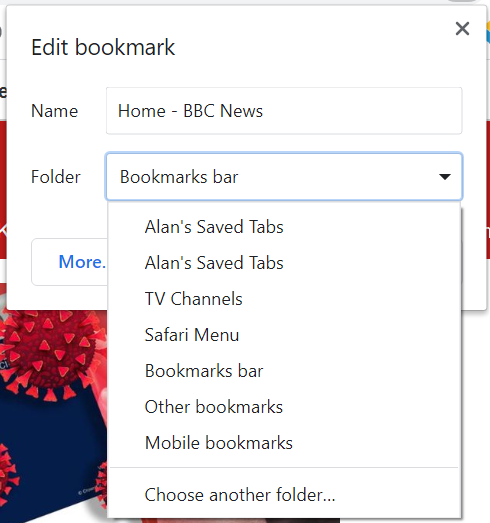 More options in saving a bookmark